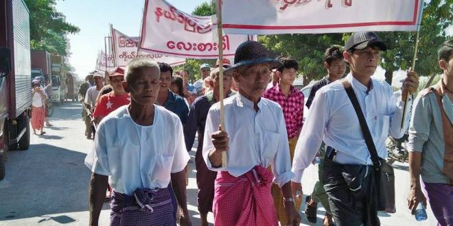 Protesters marching to the NLD Office, in Mawlamyine.  (Photo: MNA/Mon Htaw)