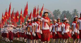 Mon youths march  at the fourth Mon Youth Day celebration event (Photo: MNA)