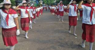 Young female participants marching to Mon Youth Day event (Photo: MNA/Mon Htaw)