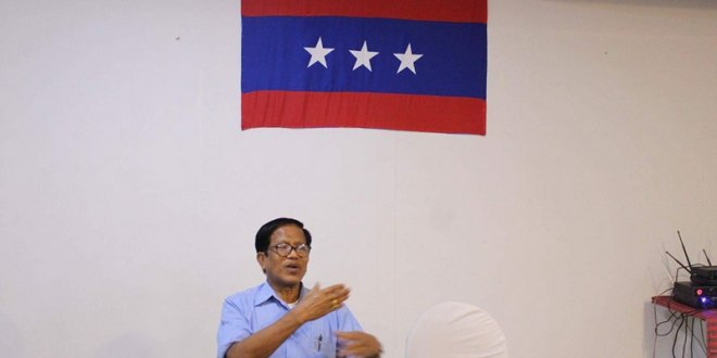 The UNFC vice chairman speaking to reporters (Photo MNA/TZA)