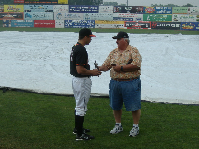 Joe Nowicki (left) receives the Shorebird of the Half award from Shorebirds Fan Club President Gil Dunn. Joe had my vote.