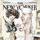 The New Yorker cover in question, with all the Obama stereotypes one could wish for.