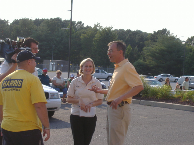 Prior to an interview, Congressional candidate Andy Harris engages in some joviality with the FOX 21 reporter and crew.