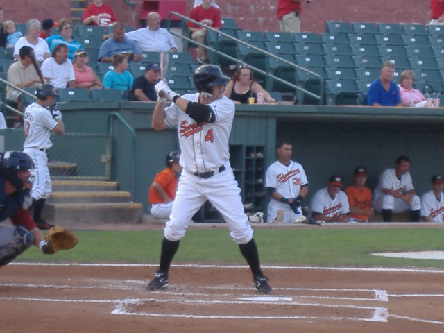Tyler Henson at the plate earlier this week. The righthanded hitter has struggled a bit of late but still has a healthy average.