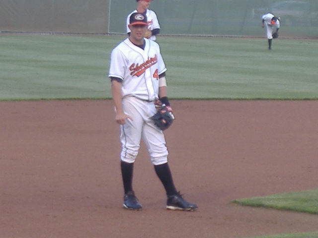 Tyler Henson looks into the Shorebirds dugout from his familiar position, third base.