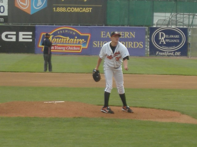 Left-handed starter Cole McCurry follows through on a delivery during an April game where the Shorebirds hosted Lakewood.