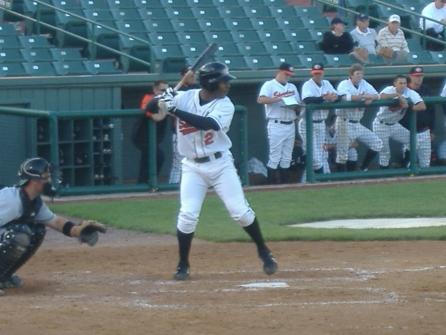 L.J. Hoes at the plate in an April game against the Hagerstown Suns.