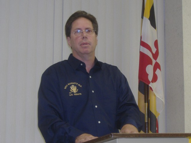 Dr. Eric Wargotz, candidate for United States Senate, males a point while speaking to the Wicomico County Republican Club, August 24, 2009.