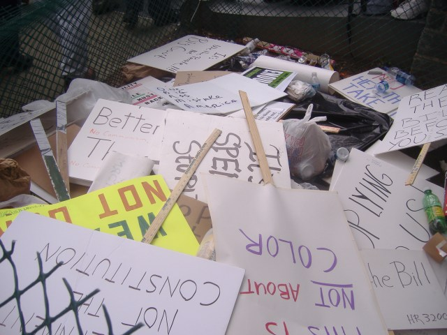 I wonder whether these signs will be recycled for future use at next year's 9-12 event or some other TEA Party.