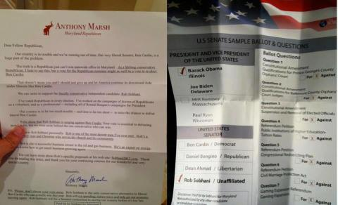 Letter from Republican Anthony Marsh and Sobhani voter guide.