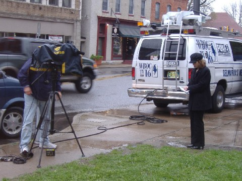 Channel 16 (WBOC) was the only TV station doing live shots from the event.