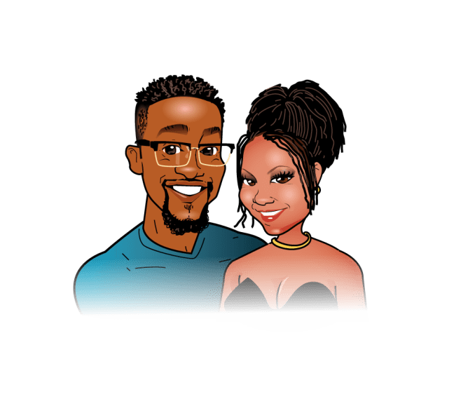 A drawing of a Black couple. The man has glasses, a moustache and beard and is wearing a teal shirt. He has low cut hair. The woman has her hair in a bun with some tendrils framing her face. She is wearing a necklace and a top with a deep V