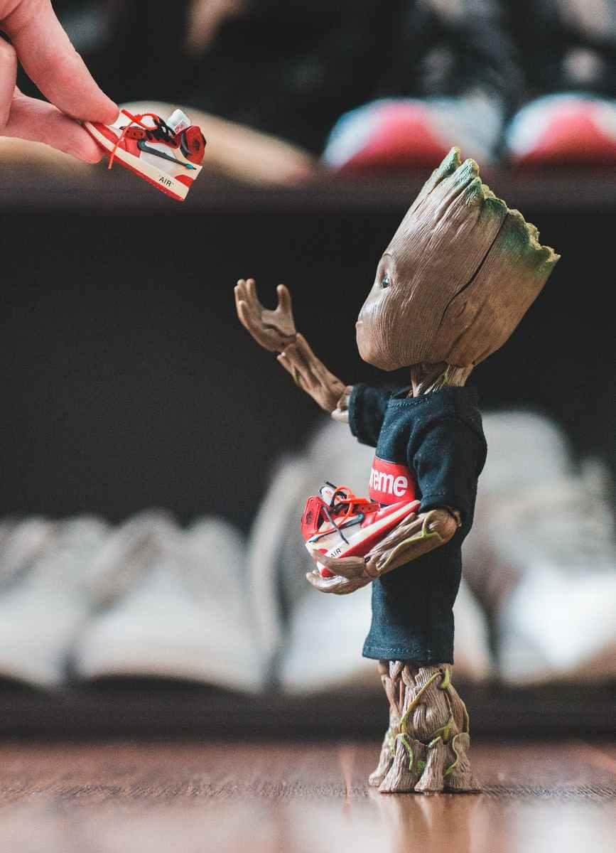 superhero tree receiving tiny sneakers