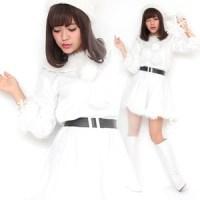 【クリスマスコスプレ 衣装】Peach×Peach レディース ラブリーサンタクロース ホワイト(白) サンタコスプレ女性用 ワンピース