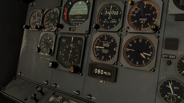 ...die eigentliche Navigation erfolgt dann über das HSI (Horizontal Situation Indicator) und DME (Distance Measuring Equipment).