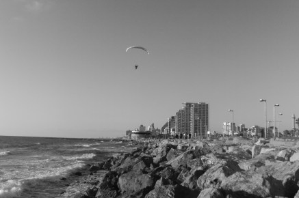 """Last Glimpse"" -Hang glider over Tel Aviv Boardwalk Photography by Jeffrey F. Barken"