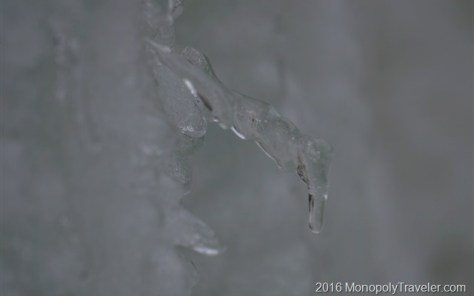 One of the many icicles making up this huge ice wall.
