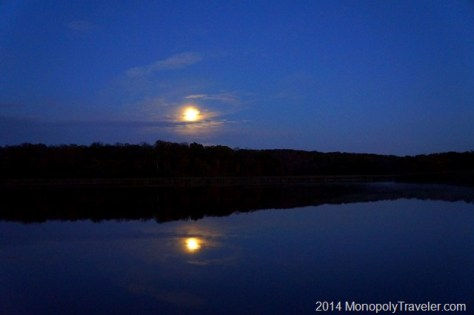 Moon Reflecting in the Water Above the Trees