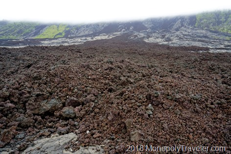 What looks like a great, rich soil is lava rocks created from a lava flow