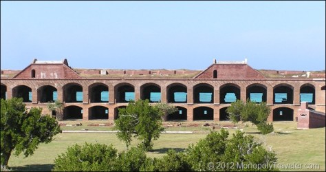 Fort Jefferson with the Caribbean Waters Visable Through the Windows