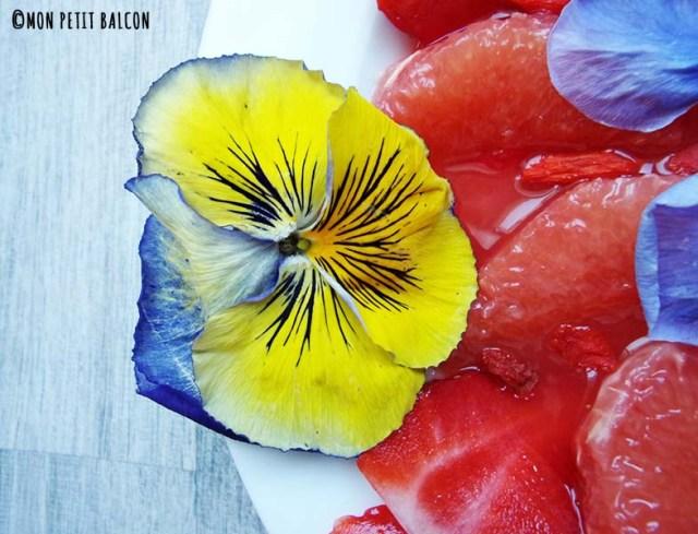 salade de pamplemousse fraise fleurs comestibles et menthe baie de goji