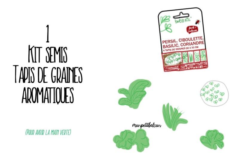 Illustration kit botanic tapis de graines aromatiques ciboulette, basilic, persil, coriandre facile à cultiver