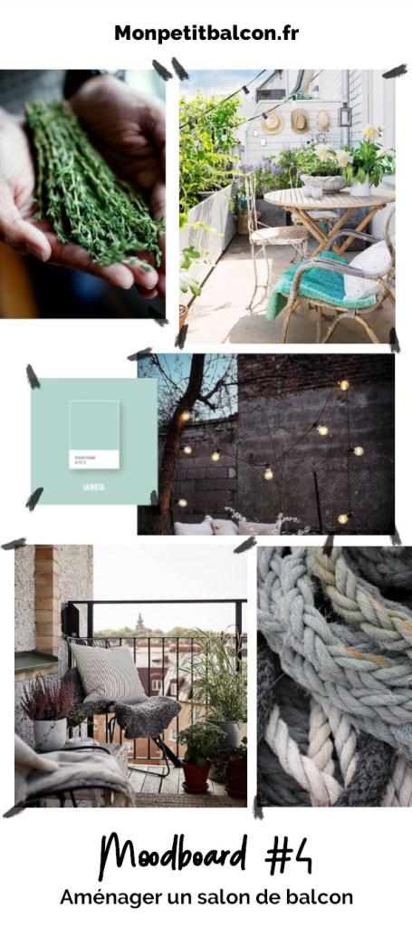 moodboard projet pour décorer un petit balcon en gris et bleu design