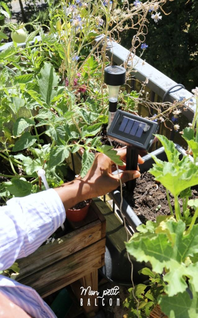 mini panneau solaire pour LED piquer dans une jardinière grise anthracite