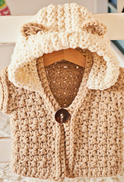 Super Bulky Hooded Vest / Cardigan, crochet pattern by Mon Petit Violon