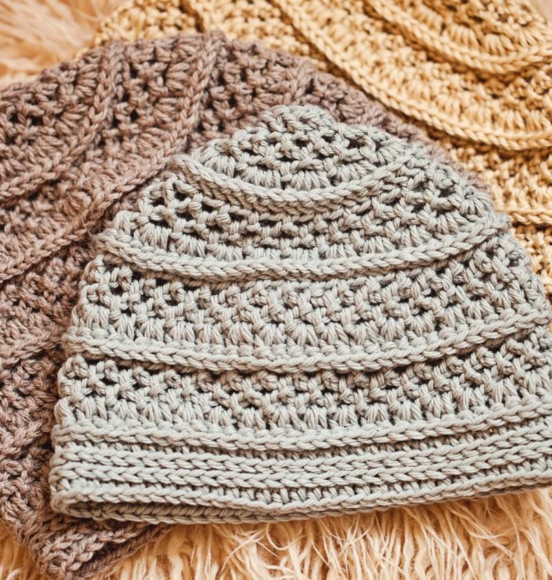 Textured Beanie - crochet hat pattern by Mon Petit Violon