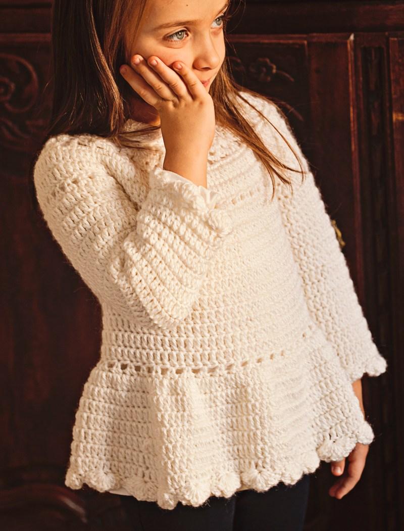 Flower Peplum Sweater, crochet pattern by Mon Petit Violon
