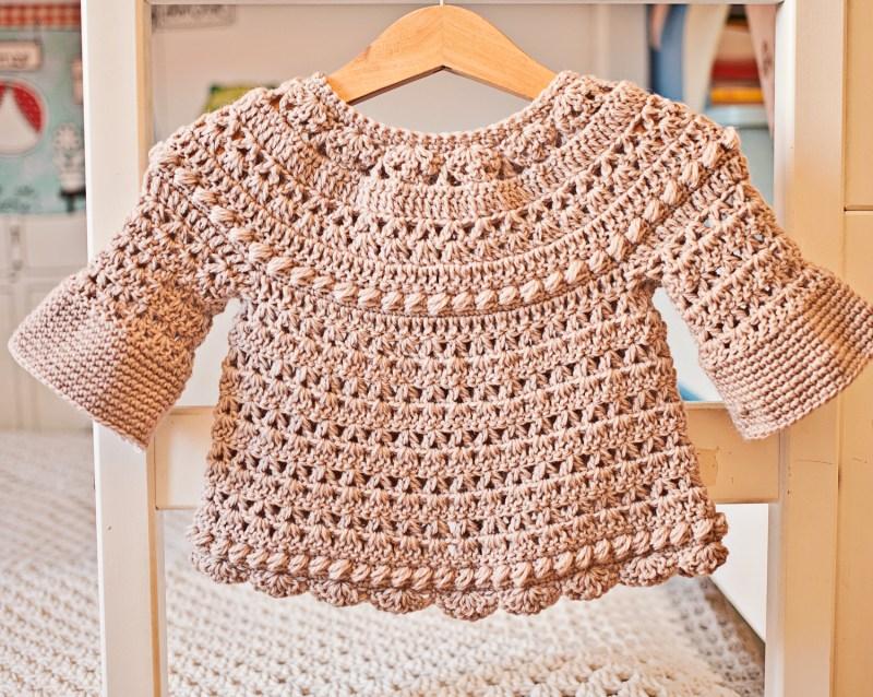 Bell Sleeve Cardigan, crochet pattern by Mon Petit Violon, www.monpetitviolon.etsy.com