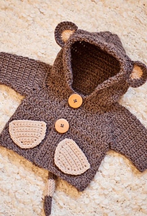 Monkey Hooded Cardigan, crochet pattern by Mon Petit Violon