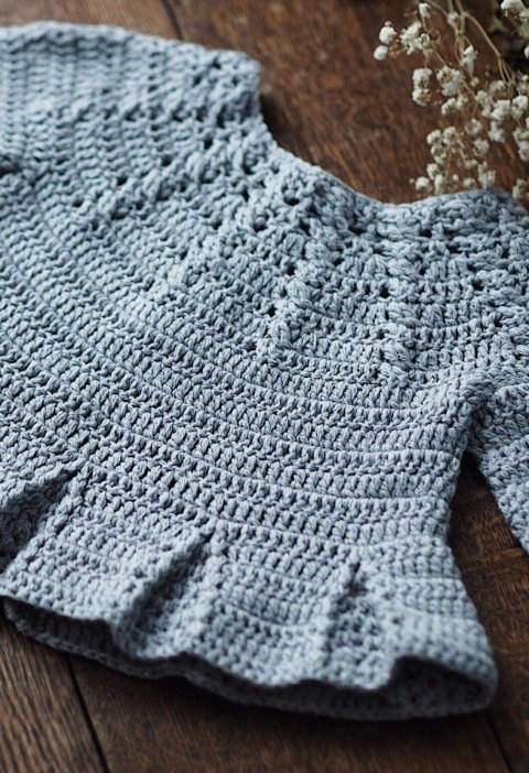 Cable Cardigan with Pleats, crochet pattern by Mon Petit Violon