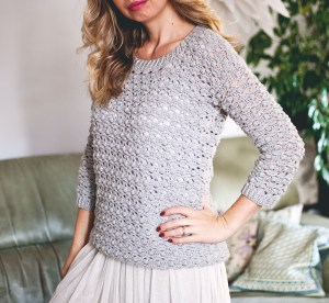 Pretty Bobbles Sweater, crochet pattern by Mon Petit Violon
