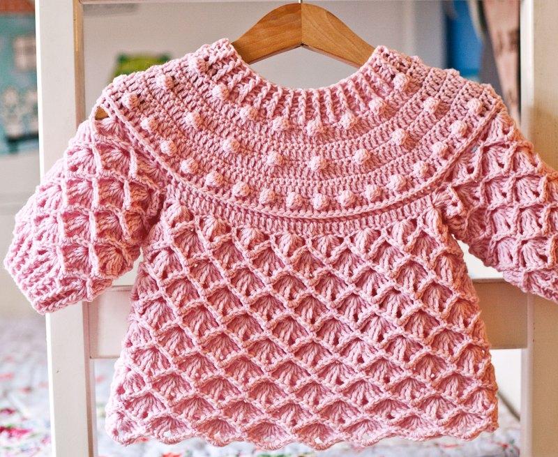 crochet pattern Pink Sorbet Sweater, www.monpetitviolon.com