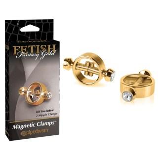 Magnetic Nipple Clamps - Pinces à Mamelons Magnétiques - Fetish Fantasy Gold