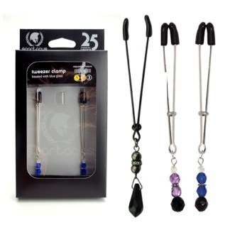 Tweezer Nipple Clamps with Jewel Glass - Pinces à Mamelons avec Bijoux - Spartacus