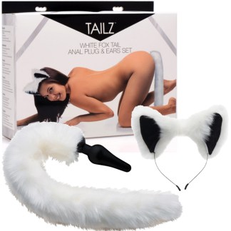 White Fox Tail Anal Plug and Ears Set - Tailz