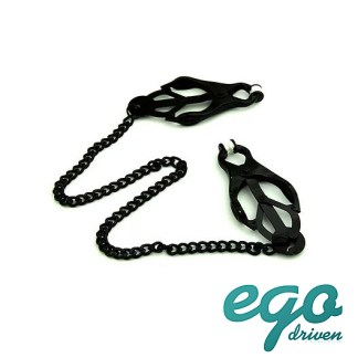 Black Clover Nipple Clamps with Chain - Pinces à Mamelons - Ego Driven