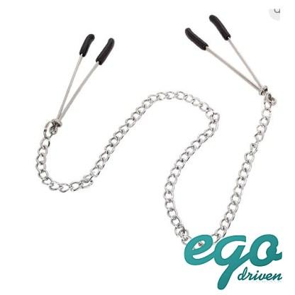 Tweezer Style Nipple Clamps with Chain - Pinces à Mamelons avec Chaîne - Ego Driven