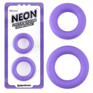 Stretchy Silicone Cock Ring Set Neon - Ensemble d'Anneaux