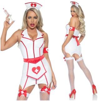 Infirmière Sexy en Vynile - Costume - 86985 - Leg Avenue
