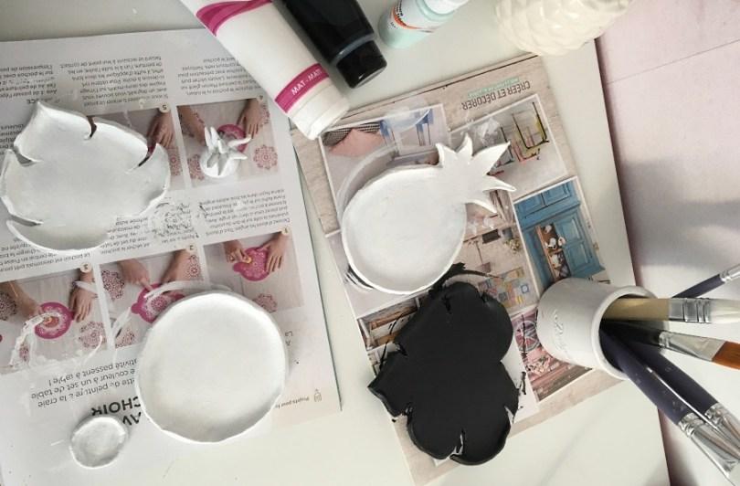peindre les coupelles en noir et blanc