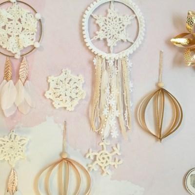 Déco d'hiver en blanc et doré – DIY attrape-rêve