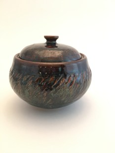 covered dish. Wheel thrown stoneware, fired to cone 5