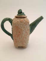 tan and green teapot. Hand built stoneware