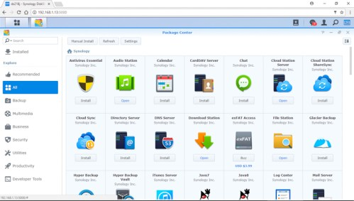 Synology-DS218j-Package-Center