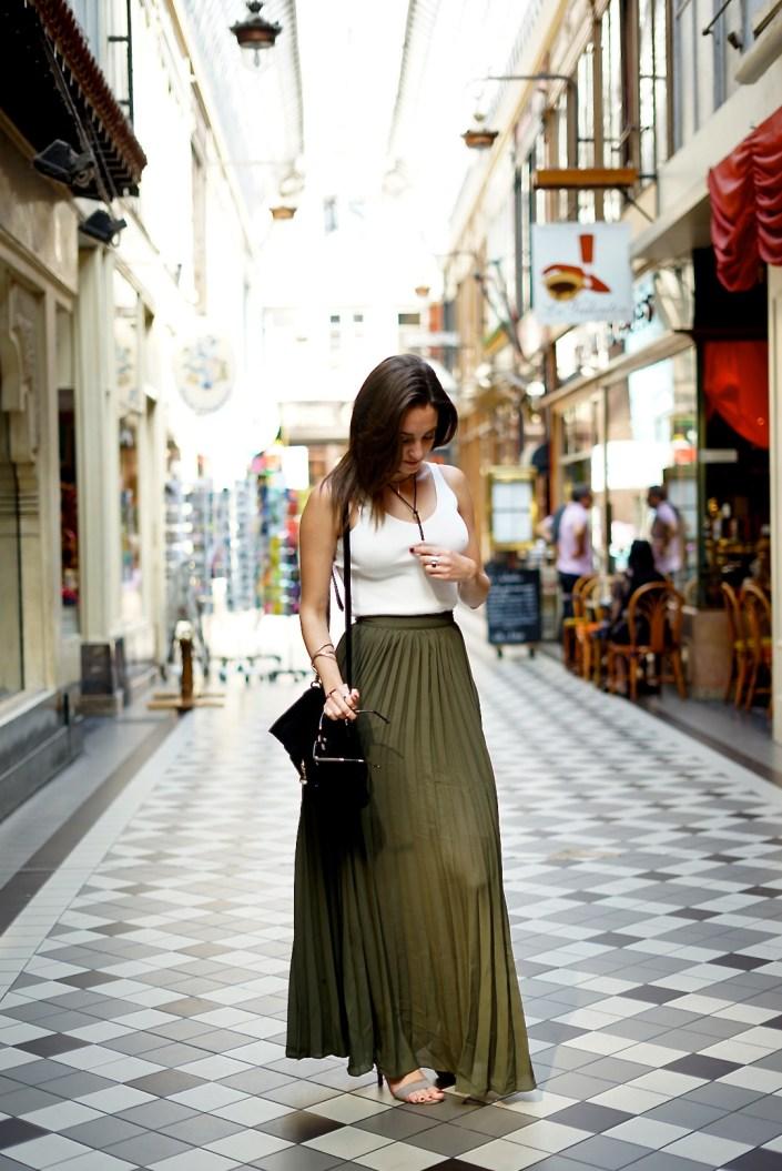Kaki long skirt ... un look à 100 € !