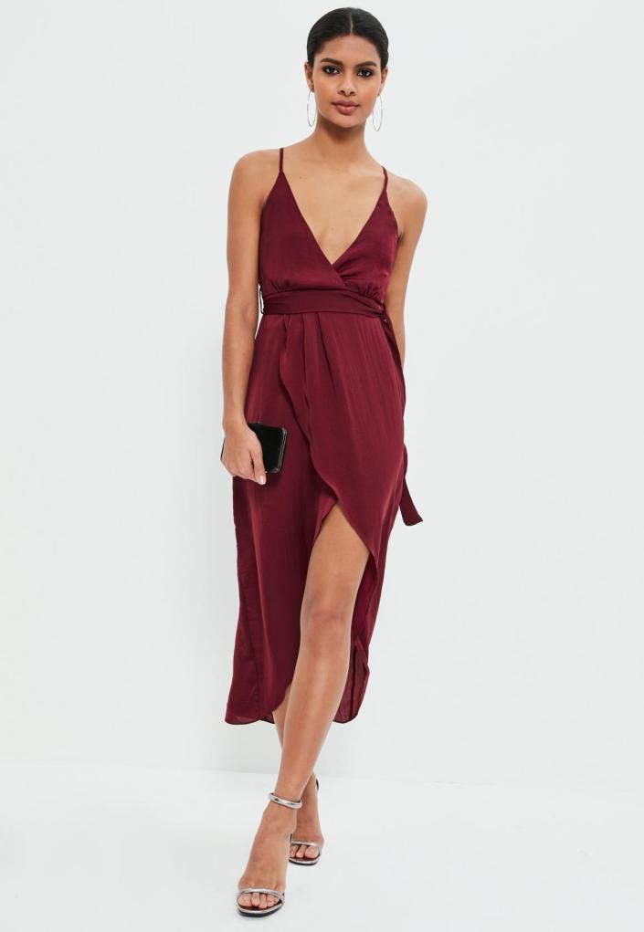 Robe portefeuille bordeaux MissGuided